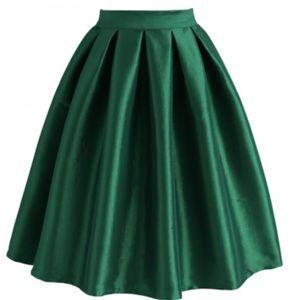 Chicwish Green A Line Midi Skirt M